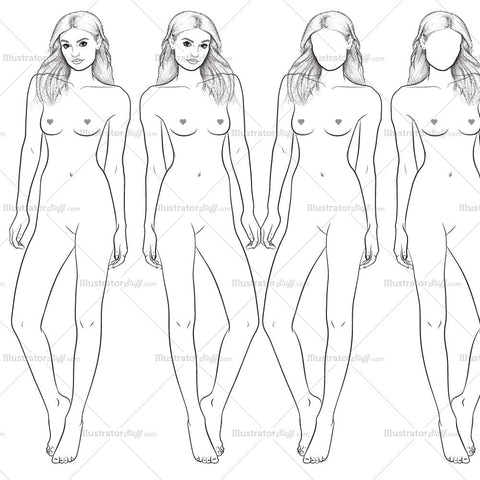 "Premium ""runway"" Fashion Croquis Figure Template ""brooke"""