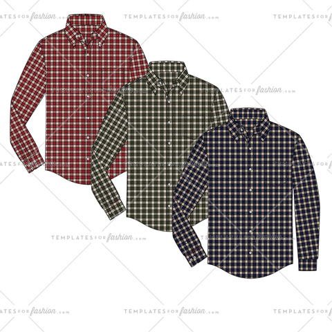 Button Down Shirt Fashion Flat Vector Template