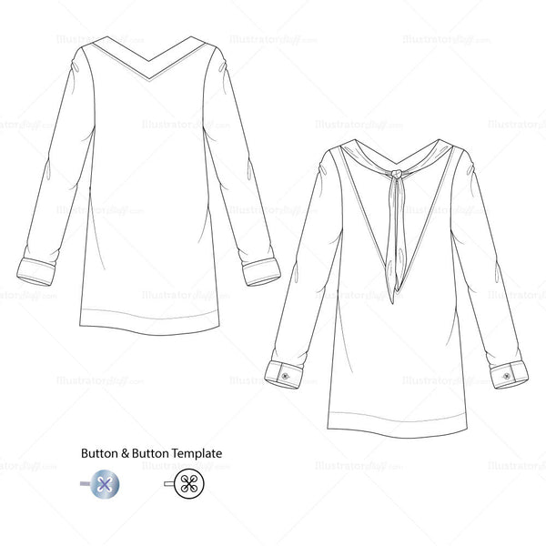 {Illustrator Stuff} Women's Backless Shift Dress Fashion Sketch Template