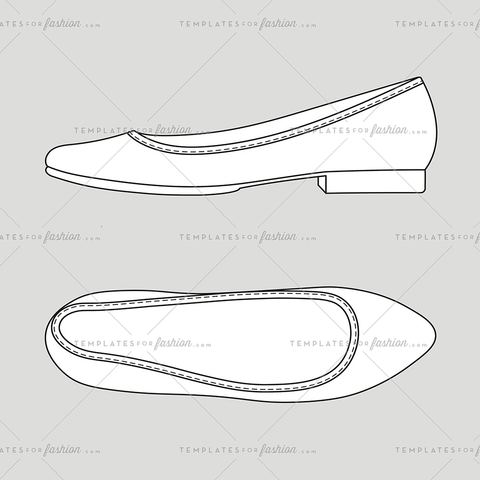 Ballerine flat shoes fashion design template