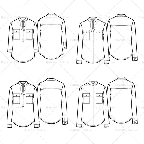Band Collar Button Down Shirt Variation Flat Templates