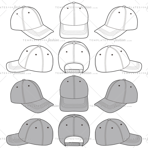 Baseball Cap fashion flat sketch template