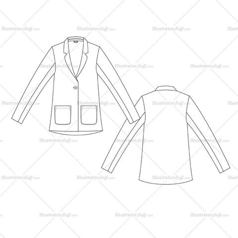 Women's Basic Blazer Fashion Flat Template