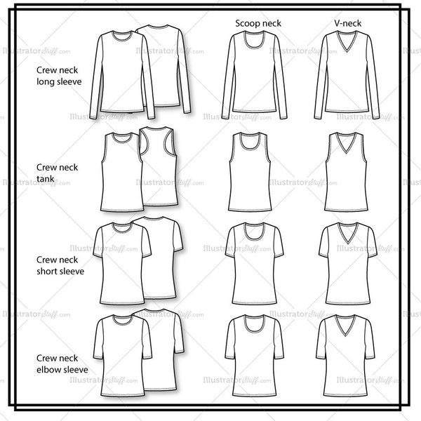 Variety Neckline Basic Knit Top Flat Template