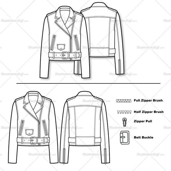 Belted Moto/biker Jacket Flat Template