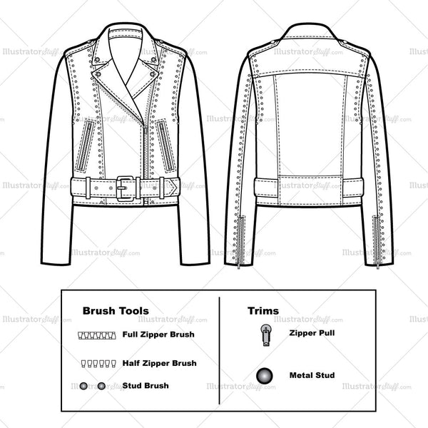 Belted Studded Moto Jacket Flat Template