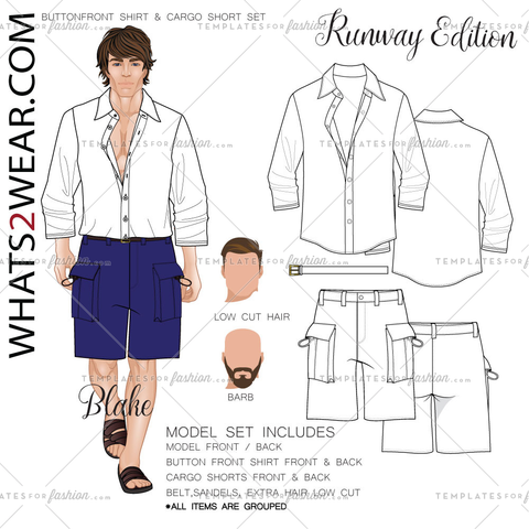 Male Euro Runway Model Fashion Croquis Template
