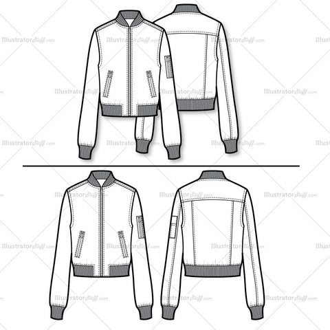 Bomber Jacket Flat Template