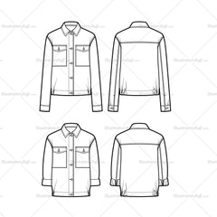 Boyfriend Shirt Jacket Flat Template
