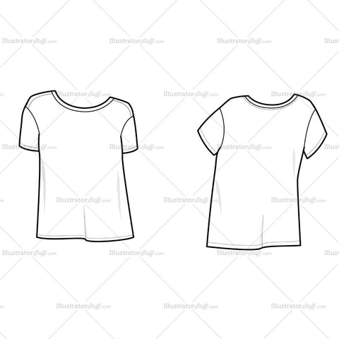 Women's Boyfriend Tee Shirt Flat Template