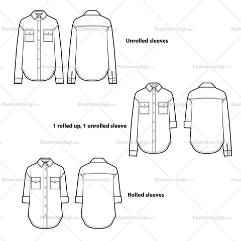Boyfriend Shirt Flat Template