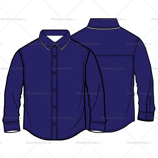 Boys Long Sleeve Shirt Fashion Flat Template