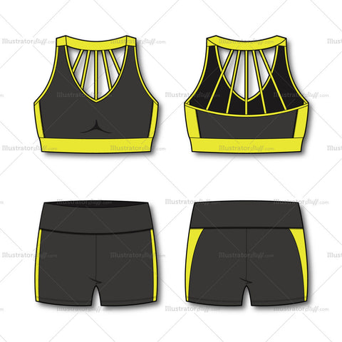 Women's Fashion Sport Bra And Shorts Flat Template