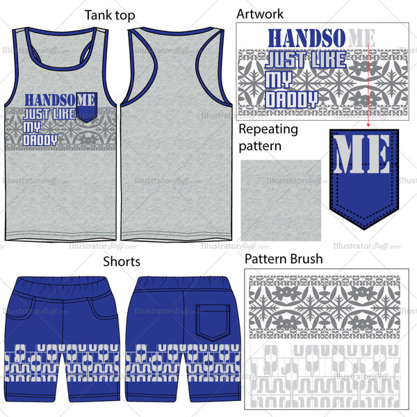 Boys Tank Top & Shorts Fashion Flat Templates.