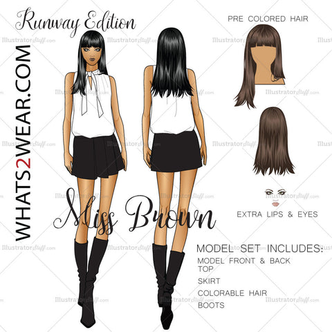 Female Brown Tone Runway Model Fashion Croquis Template