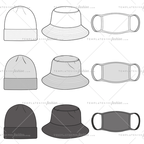 Bucket Hat, Beanie, Mask fashion flat sketch template