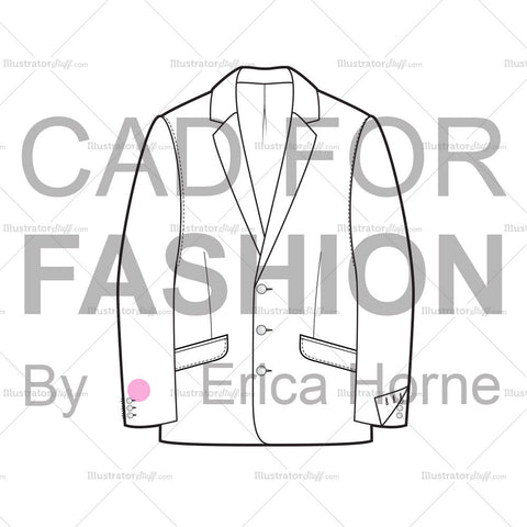 Men's Tailored Jacket Flat Drawing