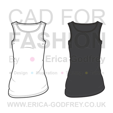 Women's Sleeveless Tank Fashion Flat Template