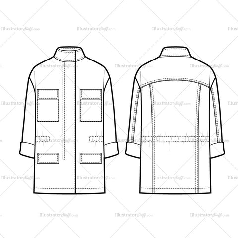 Casual Utility Parka Flat Template