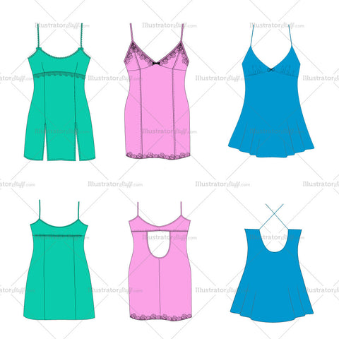Women'S Chemise Basics Fashion Flat Template