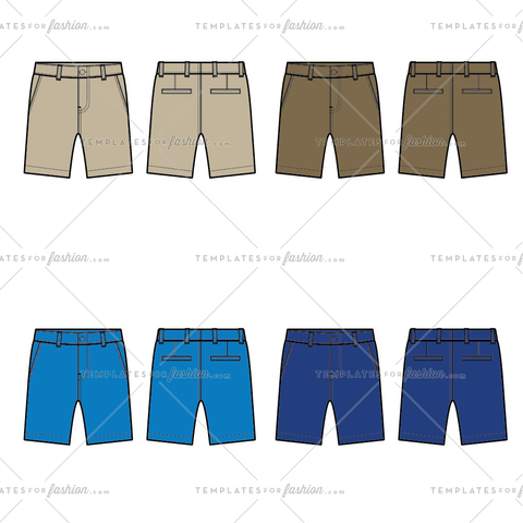 Men's Chino Shorts Fashion Flat Templates