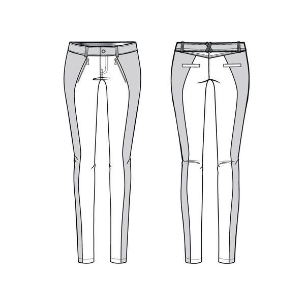 {Illustrator Stuff} Women's Colorblock Skinny Moto Pants Fashion Flat Template