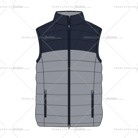 COLORBLOCK PUFFER VEST FASHION FLAT VECTOR FILE