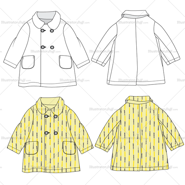 Girls Coat Fashion Flat Templates