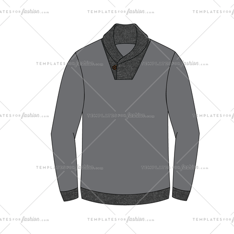 Cowl Neck Pullover Fashion Flat Vector Template