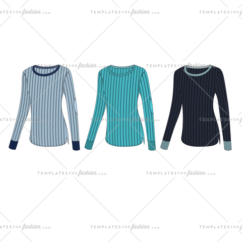 CABLE & RIB CREWNECK SWEATER FASHION FLAT VECTOR TEMPLATE