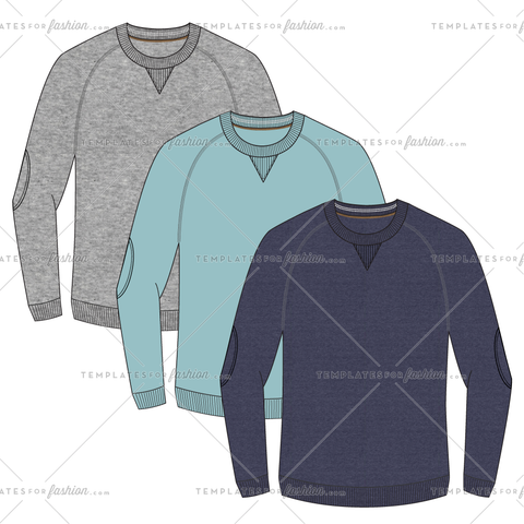 CREWNECK SWEATER WITH ELBOW PATCHES FASHION FLAT VECTOR FILE