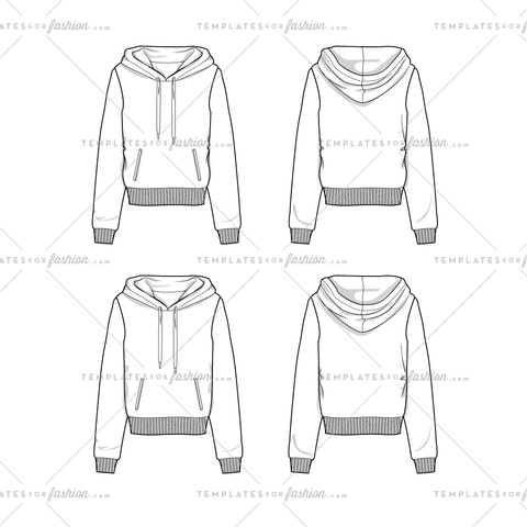 Women's Crop Length Hoodie Sweatshirt