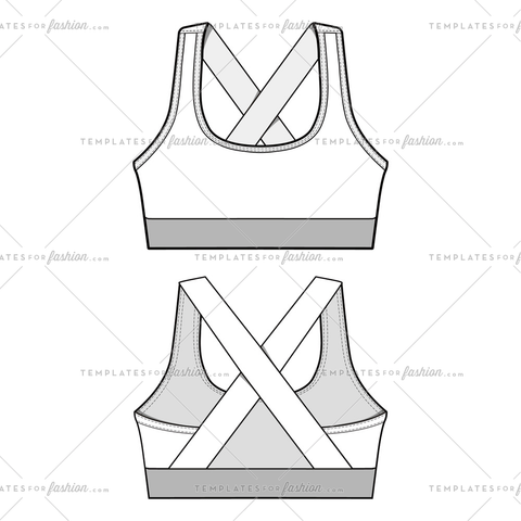CROSS BACK CROP TOP Fashion Flat Templates