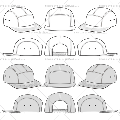 A Camp Cap fashion flat sketch template