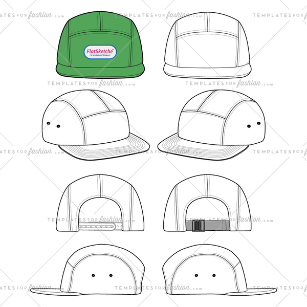 Camp cap set Fashion flat technical drawing vector template