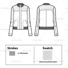 Casual Quilted Bomber Flat Template