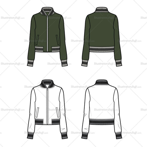 Classic Bomber With Striped Ribbing Flat Template