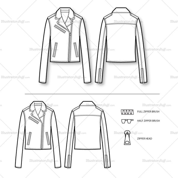 Women's Classic Moto Jacket Fashion Flat Template