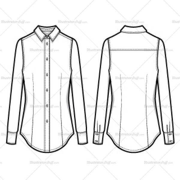 Women's Classic Long Sleeve Button Down Shirt Fashion Flat Template