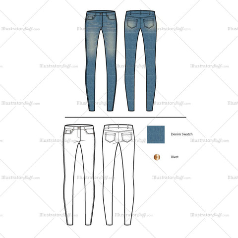 Women's Classic Skinny Jeans Fashion Flat Template