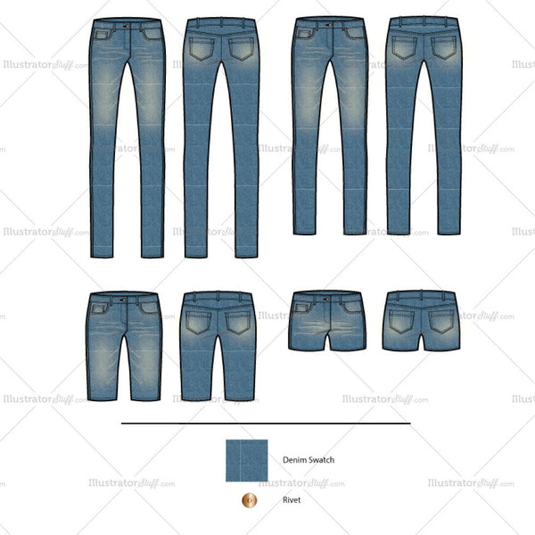 Women's Classic boot leg Jeans - Variety Fashion Flat Templates