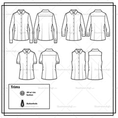 Classic Button Shirt With Tail Hem Flat Template