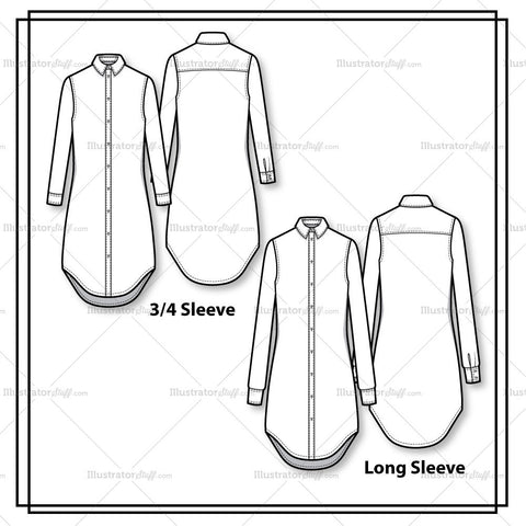 Classic Button Down Shirtdress Flat Template