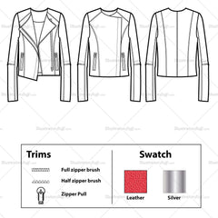 Collarless Asymmetrical Leather Jacket Flat Template