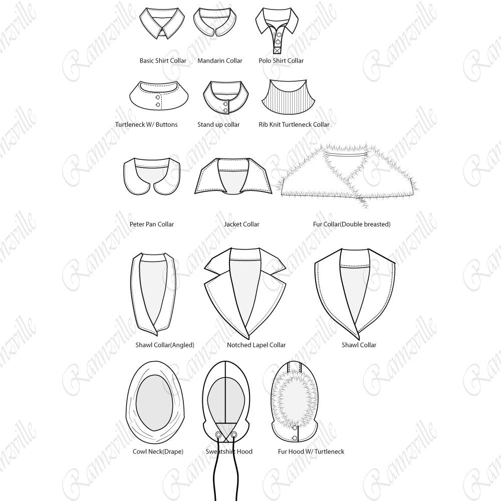 collars fashion flat library pack  u2013 templates for fashion