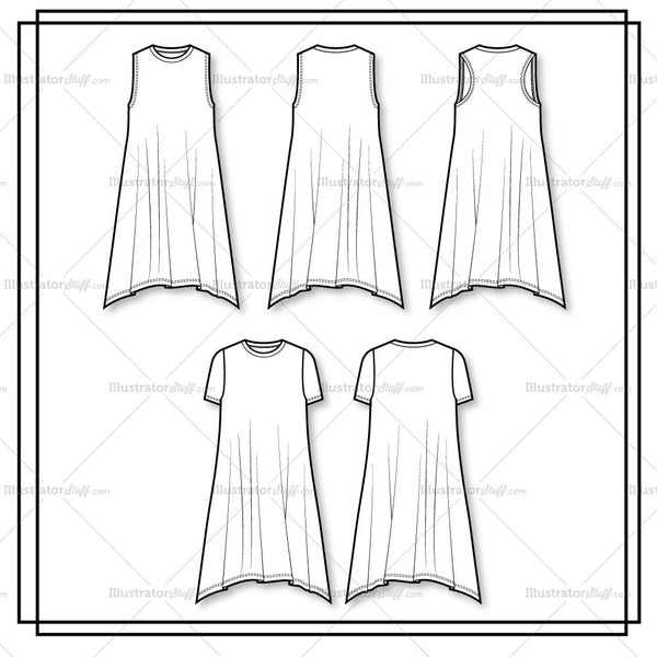 Crew Neck Swing Dress Flat Template