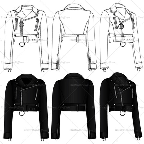Cropped Biker Jacket Fashion Flat Templates