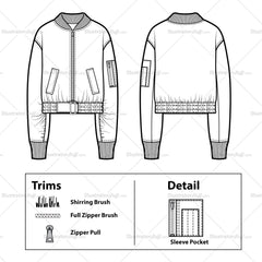 Cropped Bomber Jacket Flate Template