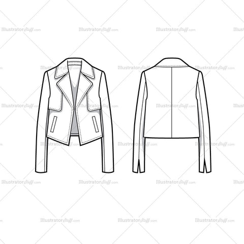 Cropped Jacket With Storm Flaps Flat Template