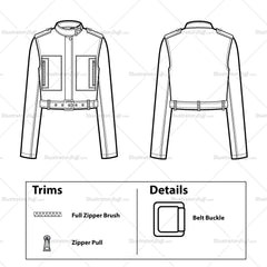 Cropped Military Jacket Flat Template